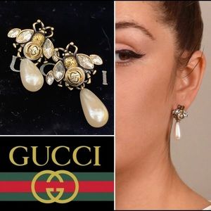 Gucci Bee Pearl Drop Earrings